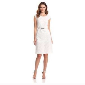 Magaschoni Crochet Lace Sleeveless Dress in White